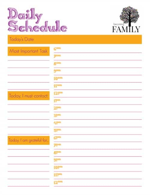 Daily Schedule Printable Becoming Family