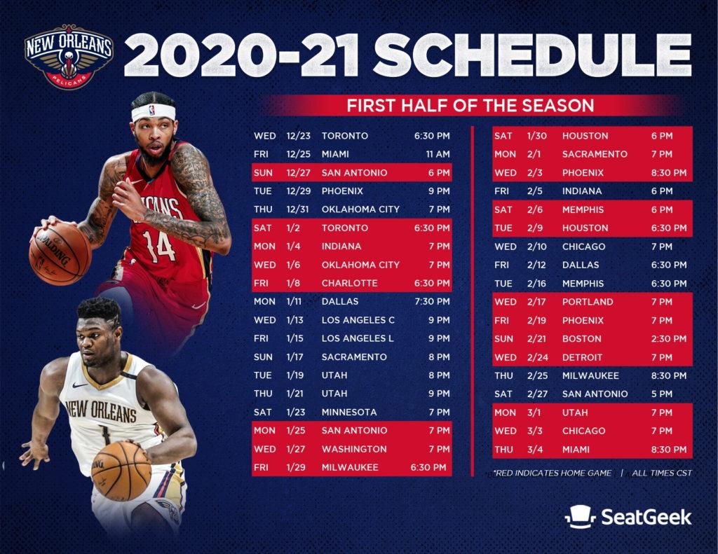 Download A Printable Pelicans 2020 21 Schedule