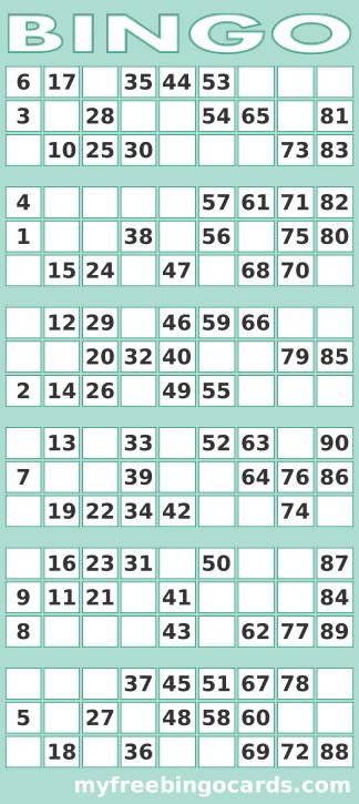 Free Printable Bingo Cards 1 90 Pdf Uk