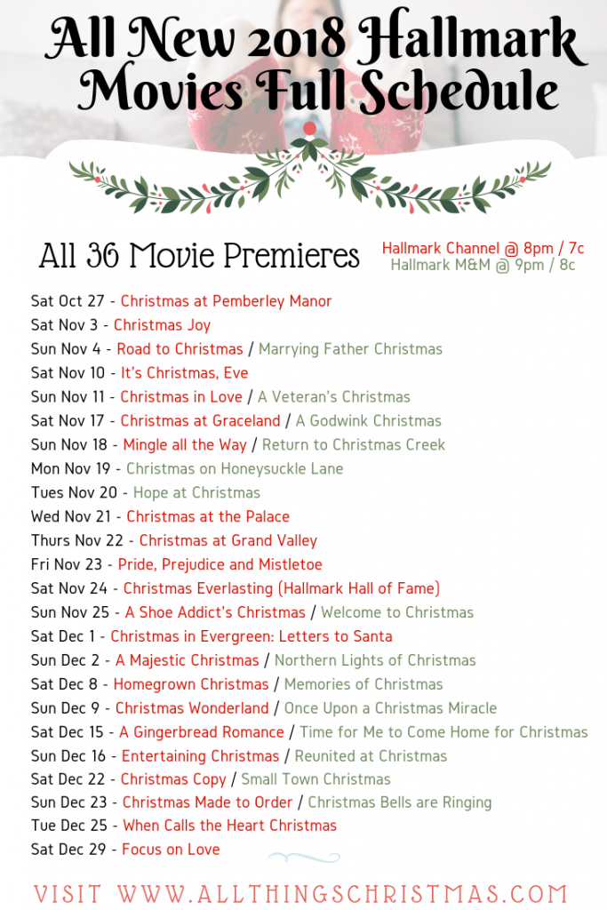 Hallmark 2018 Christmas Movies Full Schedule All Things