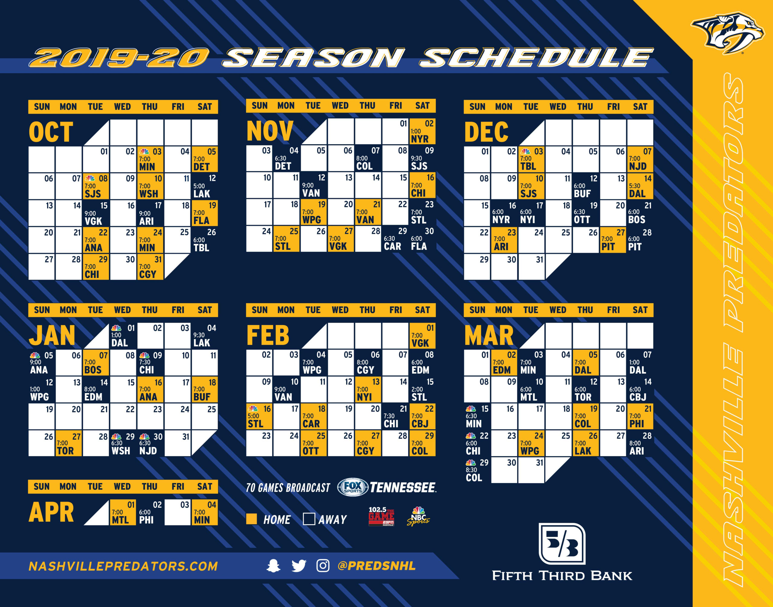 High Rez JPG Calendar Of The Nashville Predators 2019