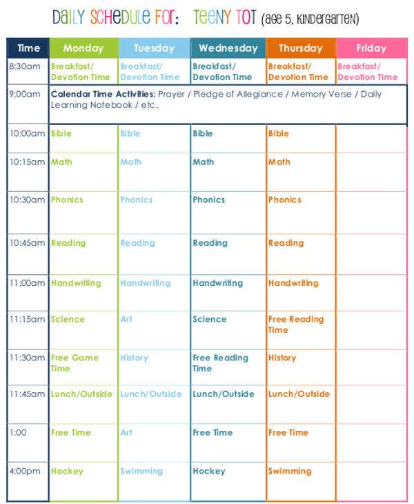 Homeschool Daily Schedule Printable That Are Decisive