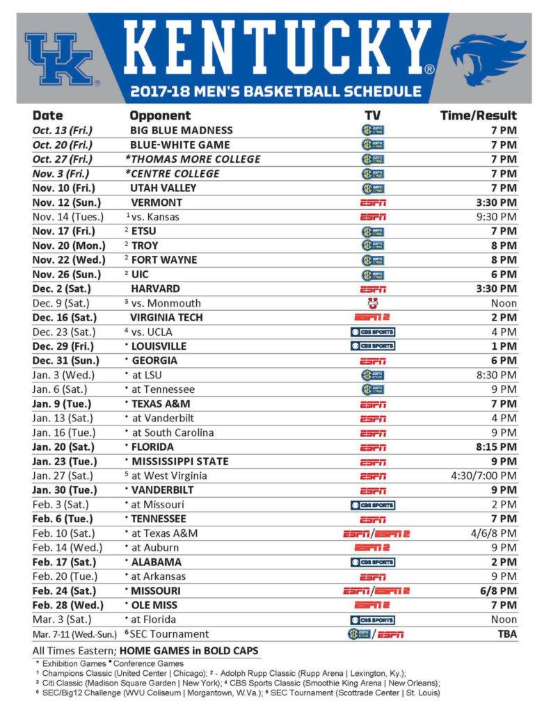 Kentucky Wildcats Basketball Full 2017 18 Schedule