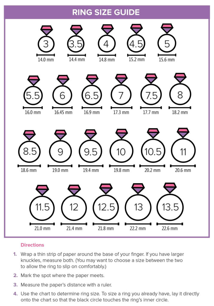 Ladies Men Finger Ring Size Measurement Chart Printable