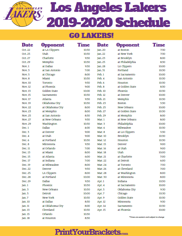 Lakers Schedule Tickets 2020 LAKE NICE