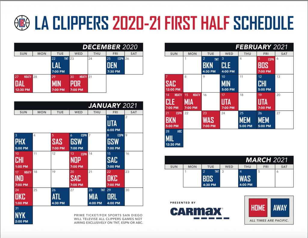 Los Angeles Lakers Schedule 2021 Printable Los Angeles