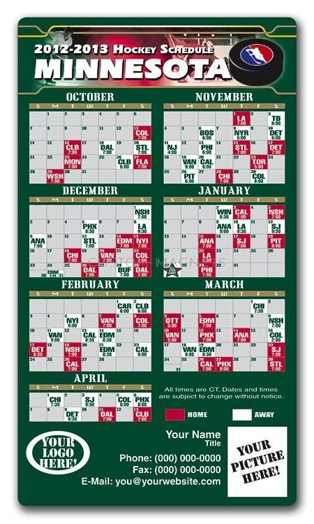 Minnesota Wild Pro Hockey Schedule Magnets 4 X 7
