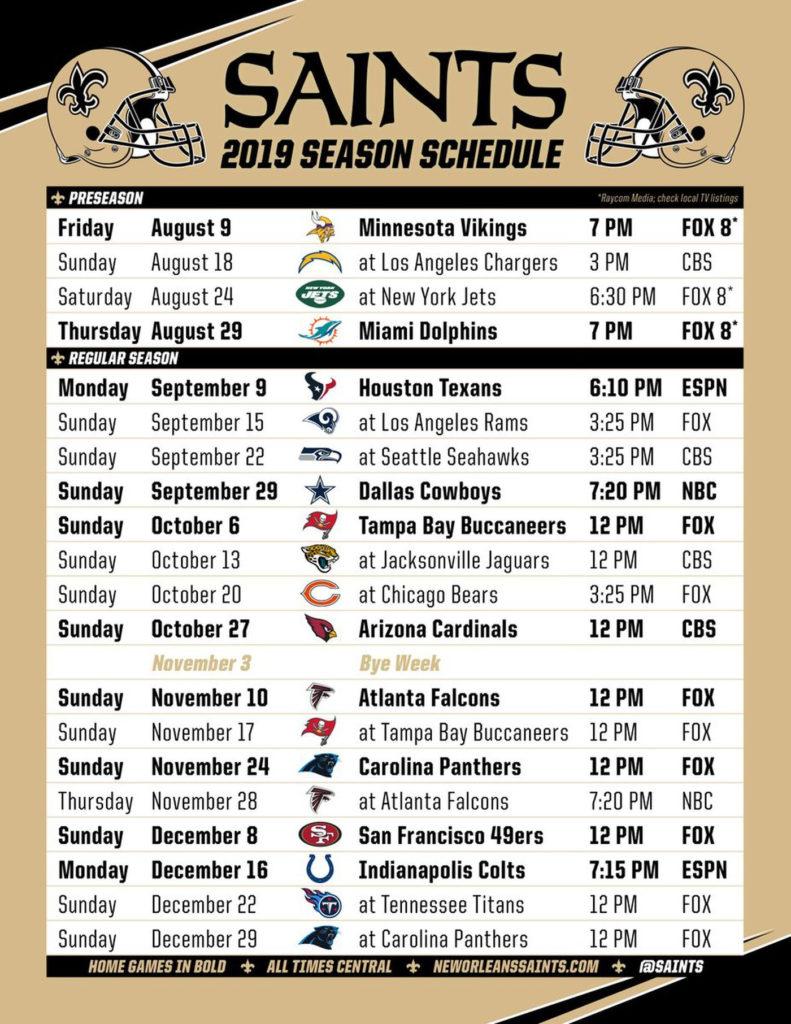 New Orleans Saints 2019 Schedule