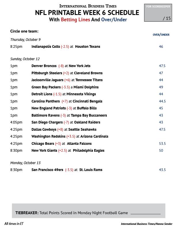 NFL Office Pool 2014 Printable Week 6 Schedule With