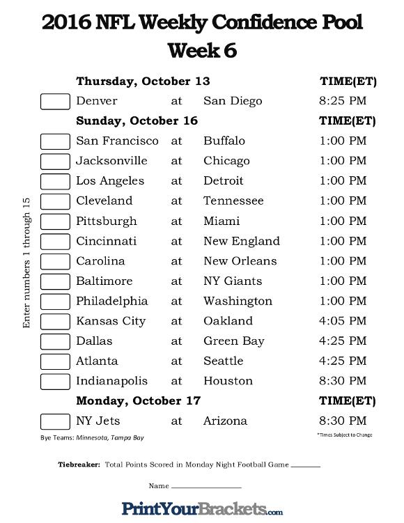 NFL Week 6 Confidence Pool Sheet Printable