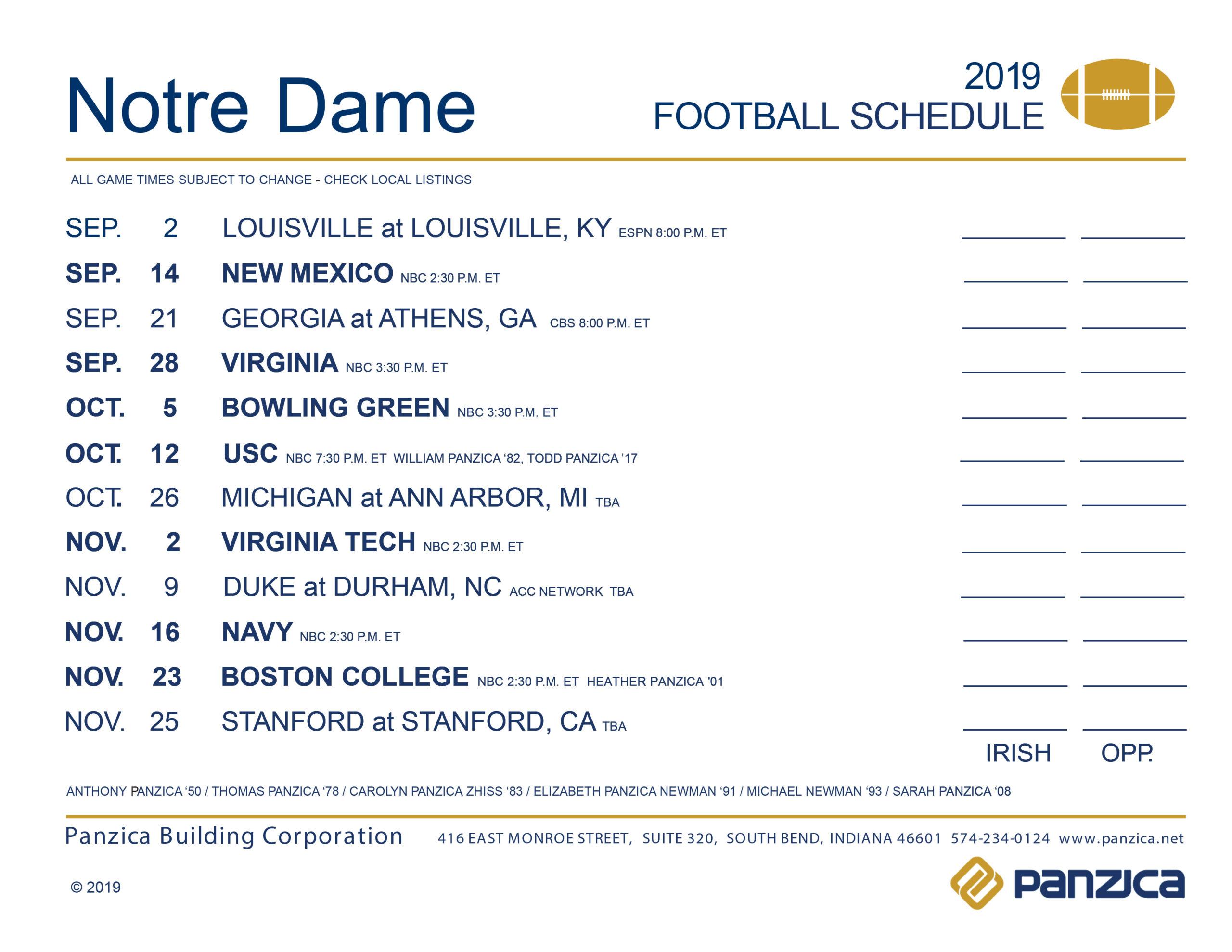 Notre Dame Football Schedule Panzica Building Corporation