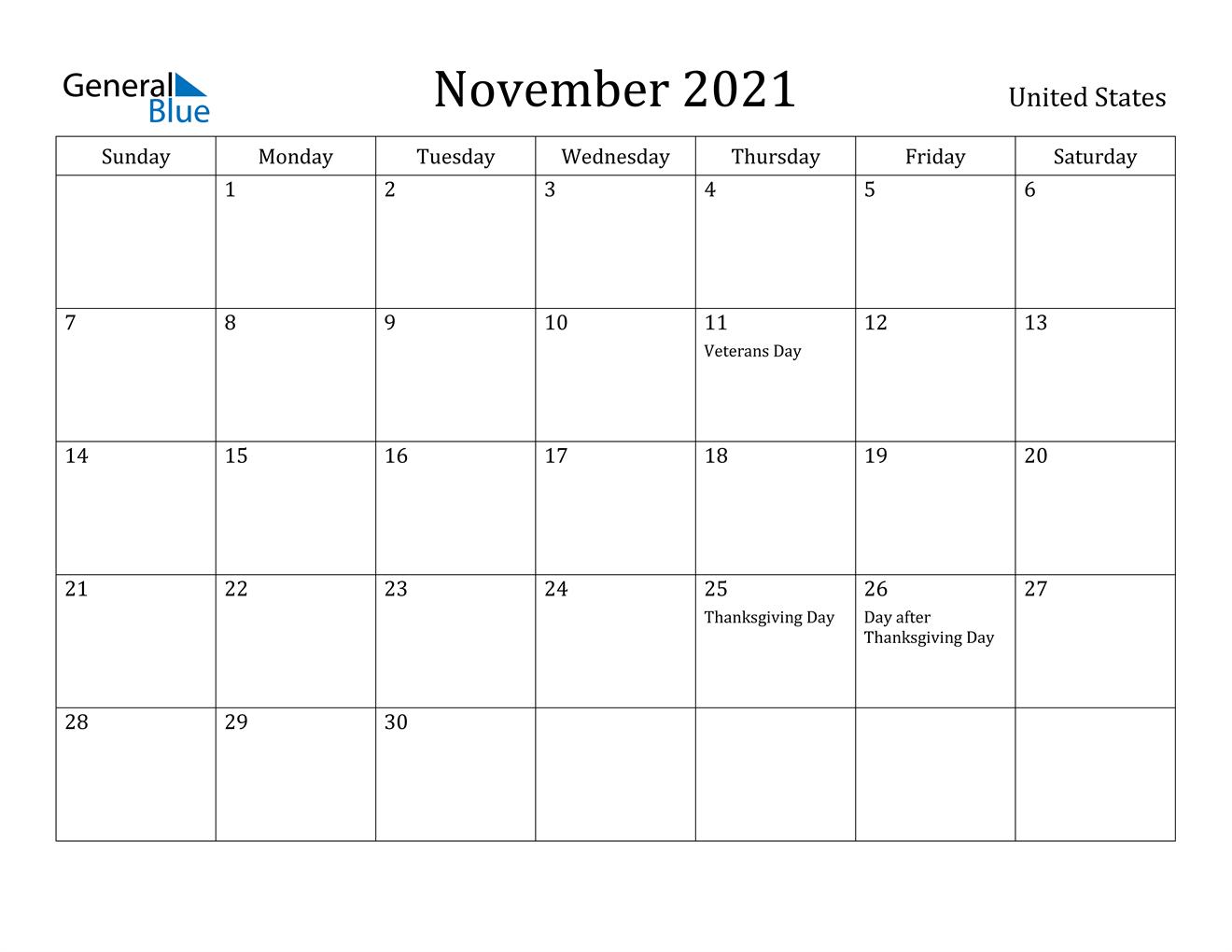 November 2021 Calendar With Holidays 2021 Printable
