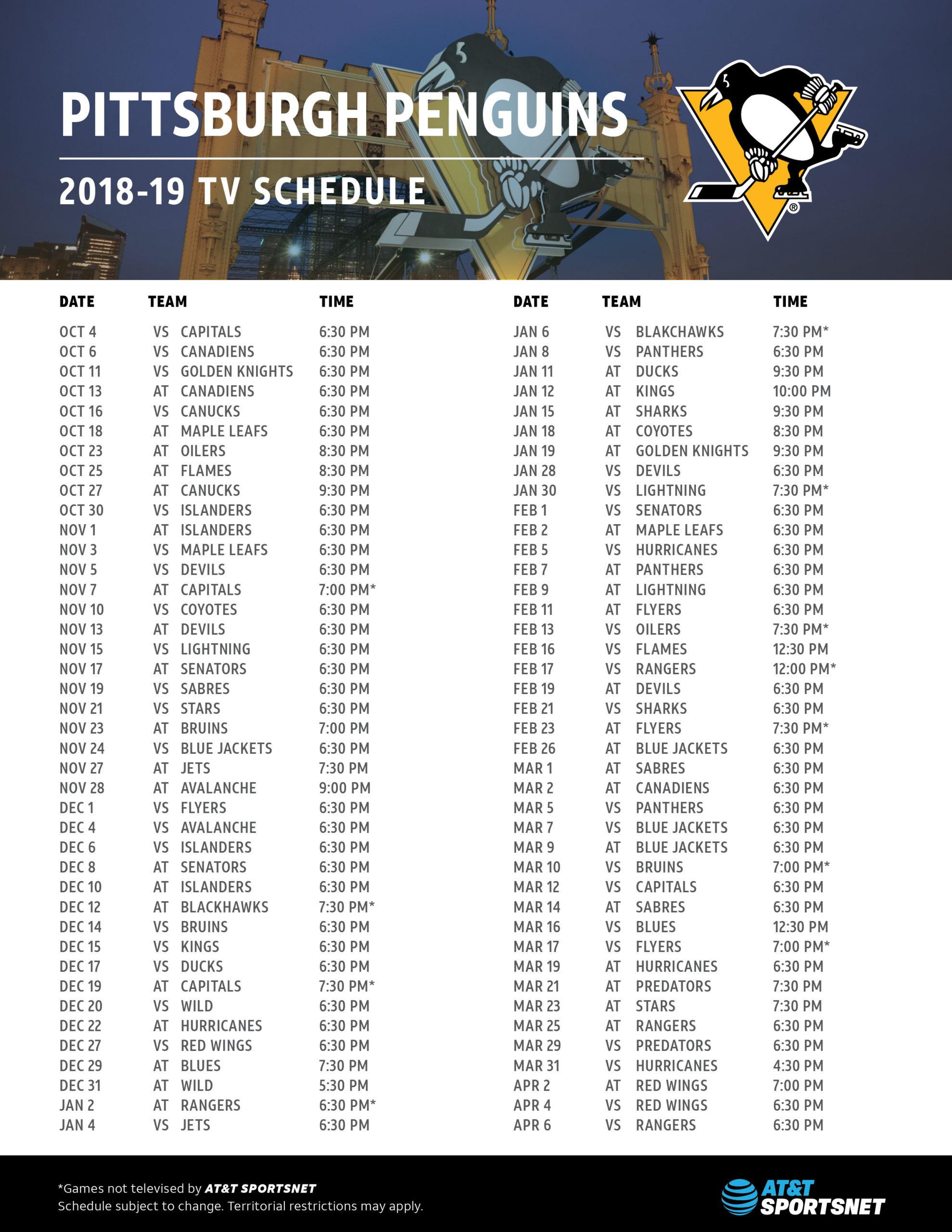 Penguins Schedule AT T SportsNet