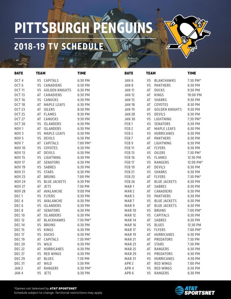 Pittsburgh Penguins Schedule 2021 Printable