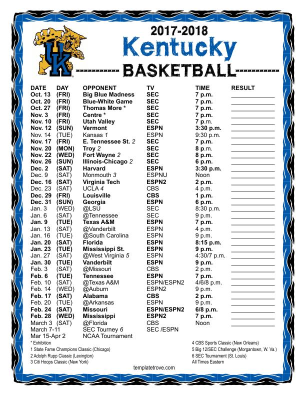 Printable 2017 2018 Kentucky Wildcats Basketball Schedule