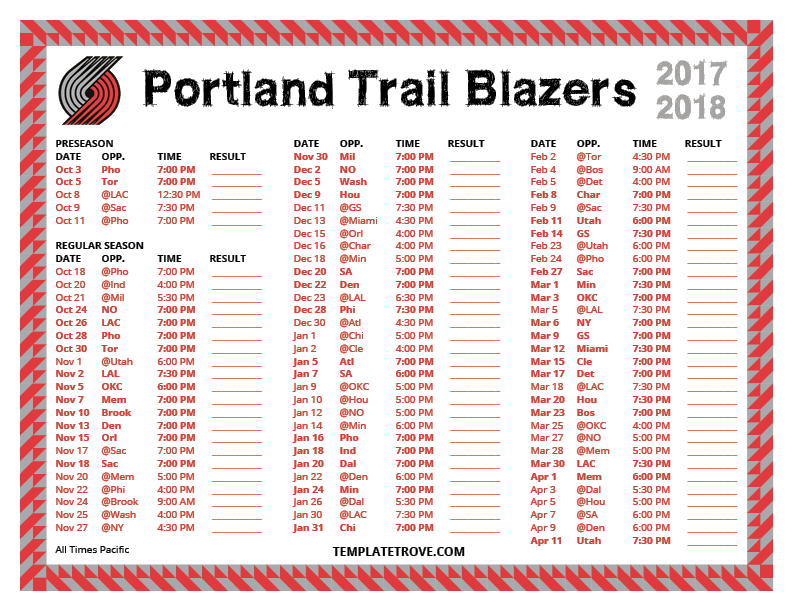 Printable 2017 2018 Portland Trail Blazers Schedule