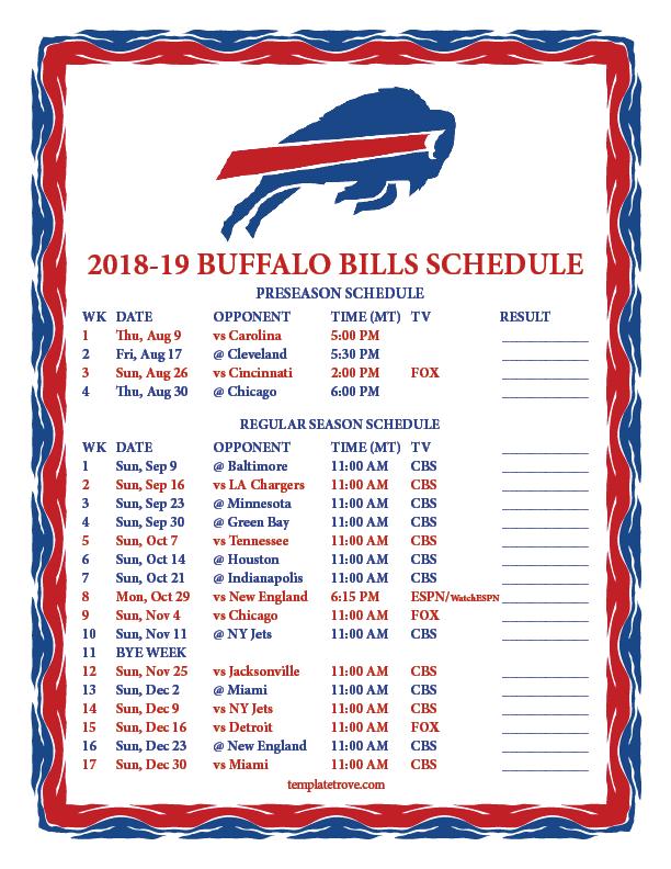 Printable 2018 2019 Buffalo Bills Schedule