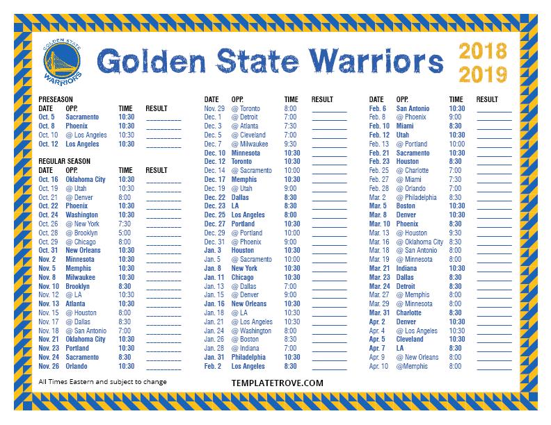 Printable 2018 2019 Golden State Warriors Schedule