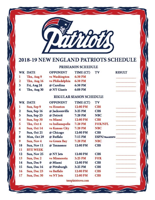 Printable 2018 2019 New England Patriots Schedule
