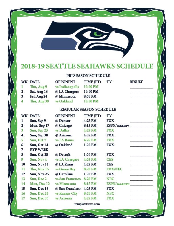 Printable 2018 2019 Seattle Seahawks Schedule