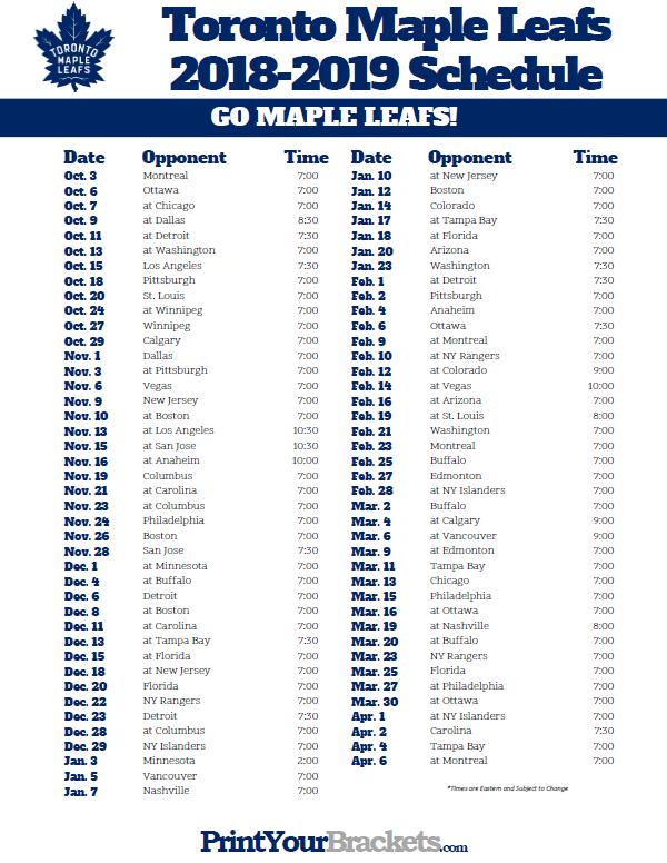 Printable 2018 2019 Toronto Maple Leafs Hockey Schedule