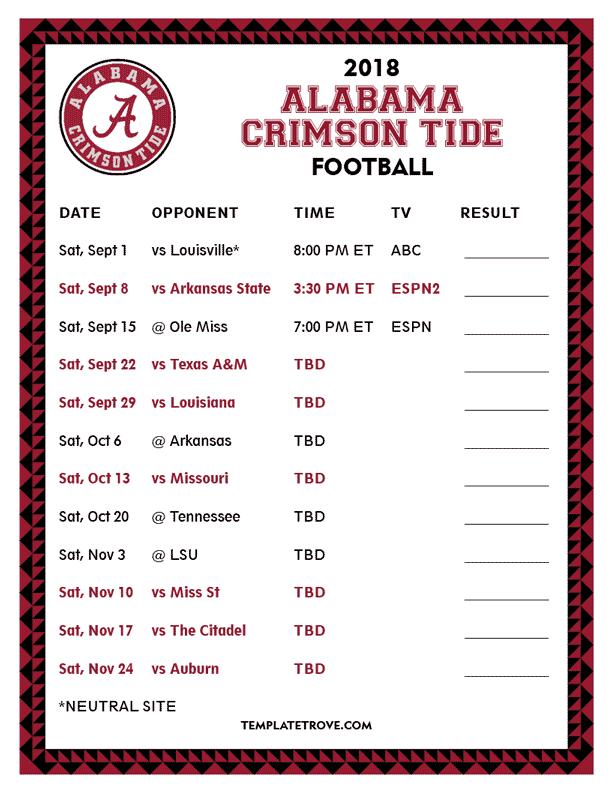 Printable 2018 Alabama Crimson Tide Football Schedule