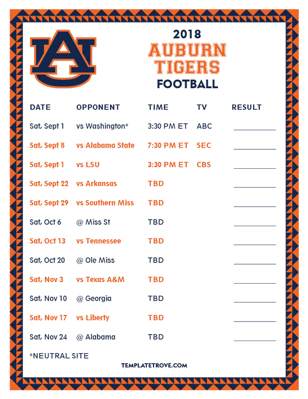 Printable 2018 Auburn Tigers Football Schedule