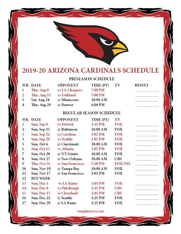 Printable 2019 2020 Arizona Cardinals Schedule
