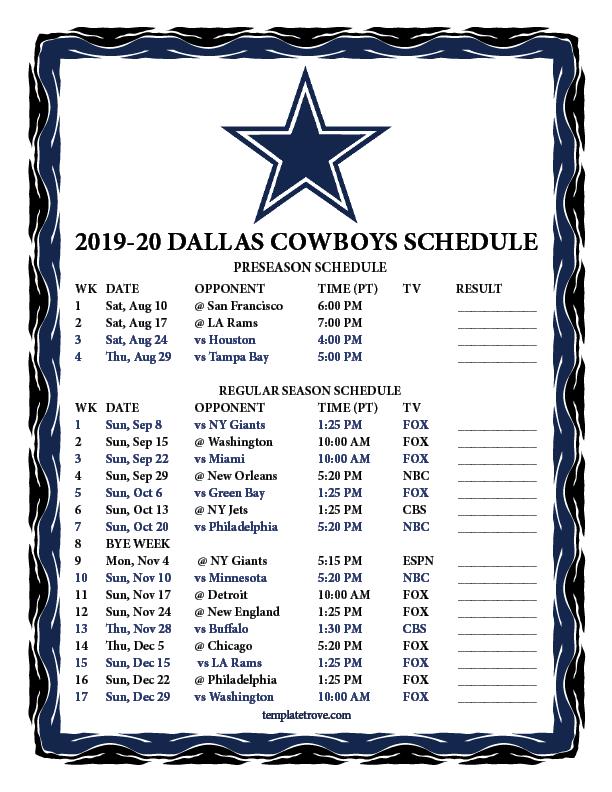 Printable 2019 2020 Dallas Cowboys Schedule