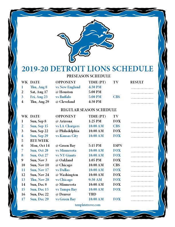 Printable 2019 2020 Detroit Lions Schedule