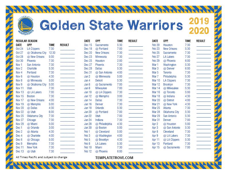 Printable 2019 2020 Golden State Warriors Schedule