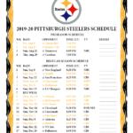 Printable 2019 2020 Pittsburgh Steelers Schedule