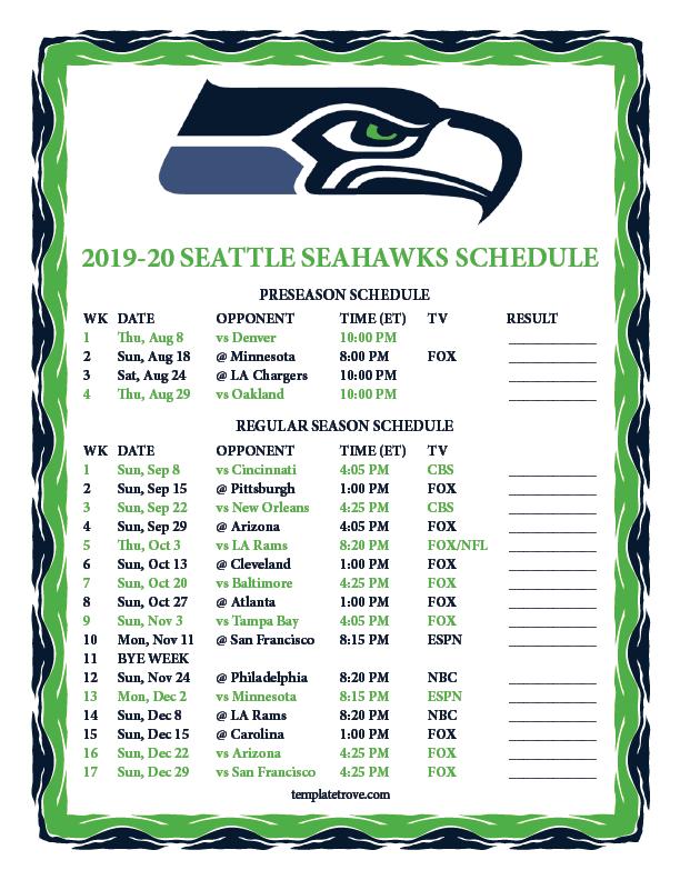 Printable 2019 2020 Seattle Seahawks Schedule