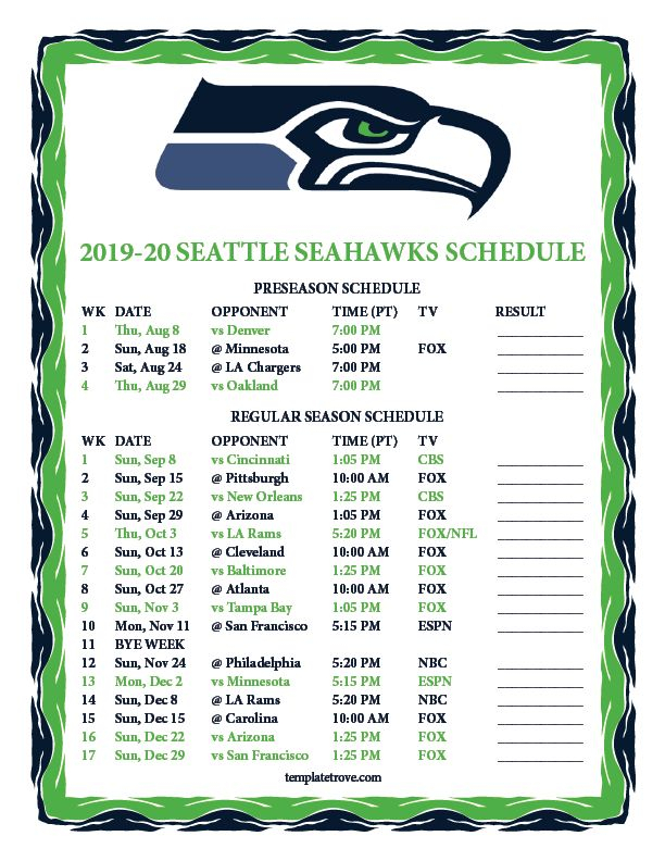 Printable 2019 2020 Seattle Seahawks Schedule With Images