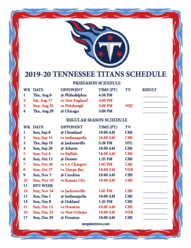 Printable 2019 2020 Tennessee Titans Schedule