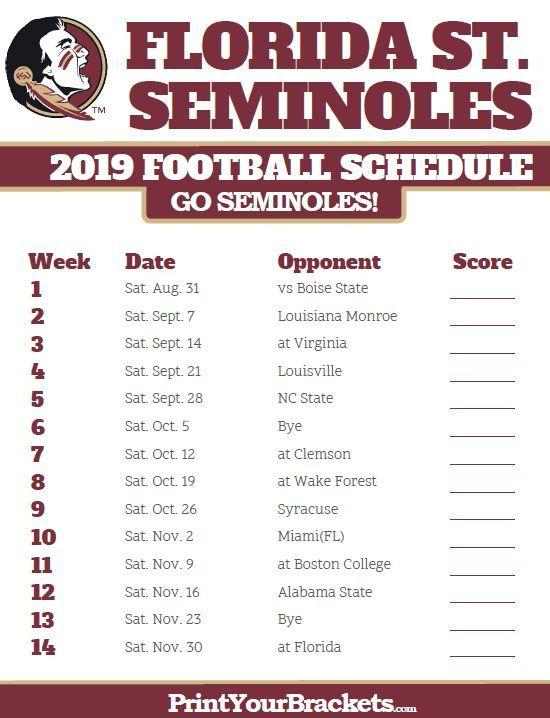 Printable 2019 Florida State Seminoles Football Schedule