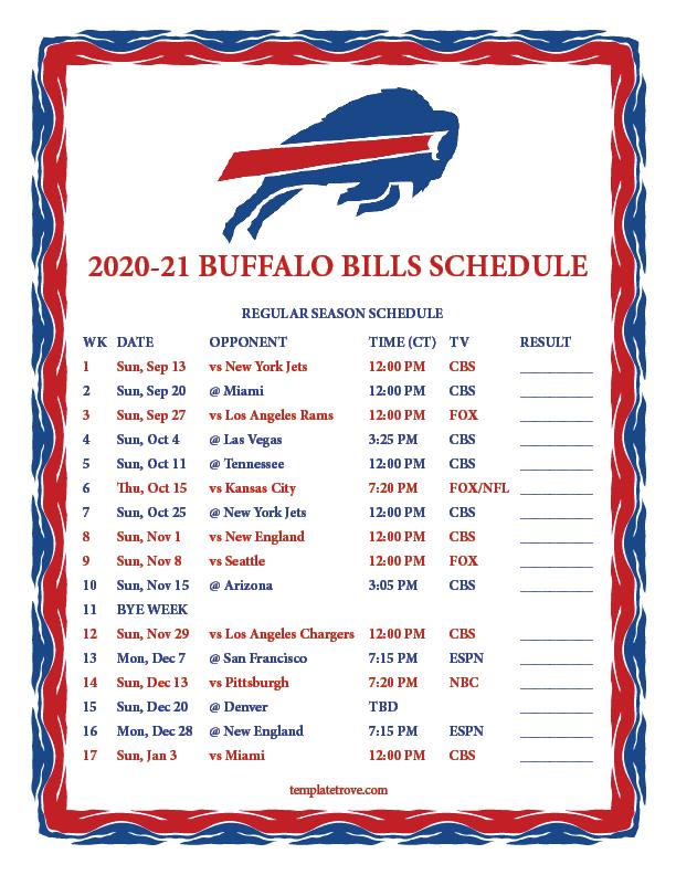 Printable 2020 2021 Buffalo Bills Schedule