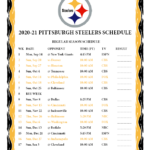 Printable 2020 2021 Pittsburgh Steelers Schedule
