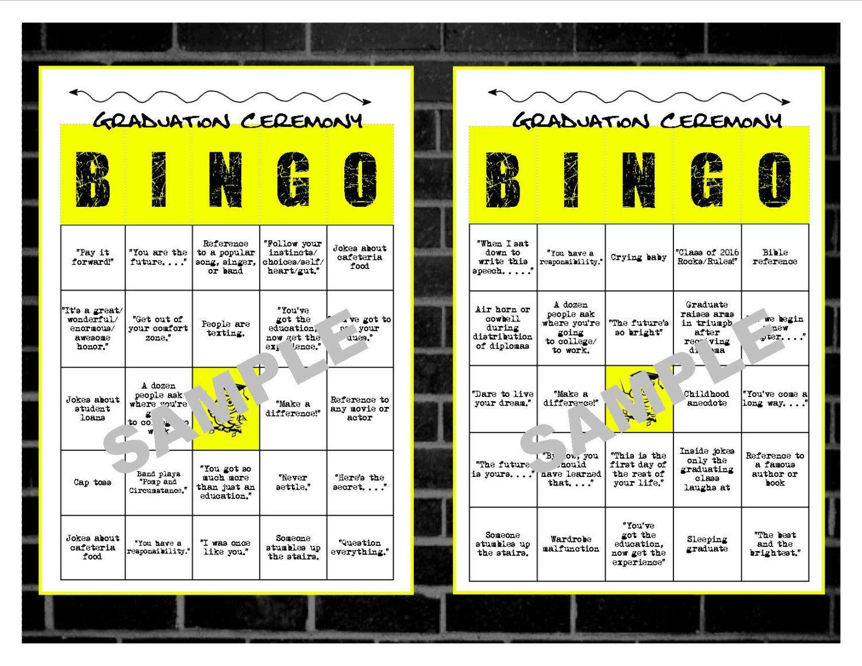 Printable Graduation Bingo Cards Printable Bingo Cards