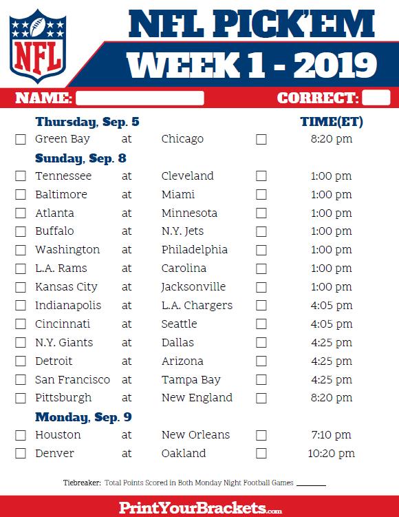 Printable NFL Week 1 Schedule Pick Em Pool 2019 Nfl Week