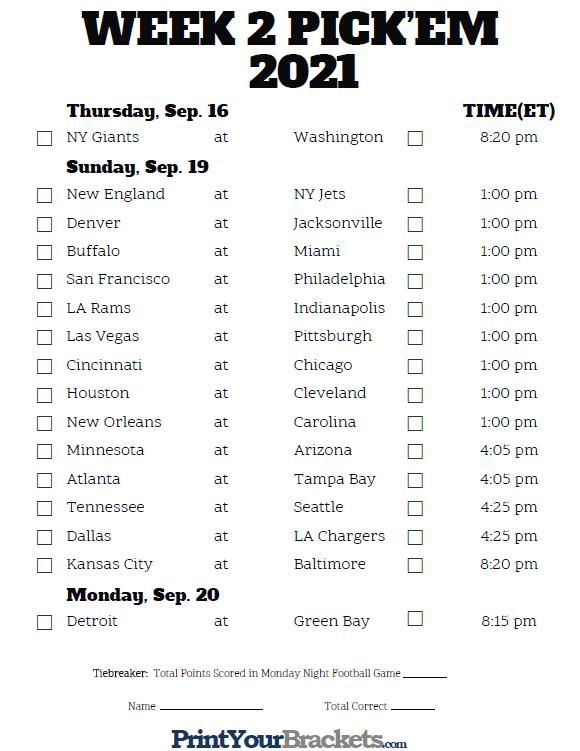Printable NFL Week 2 Schedule Pick Em Pool 2020