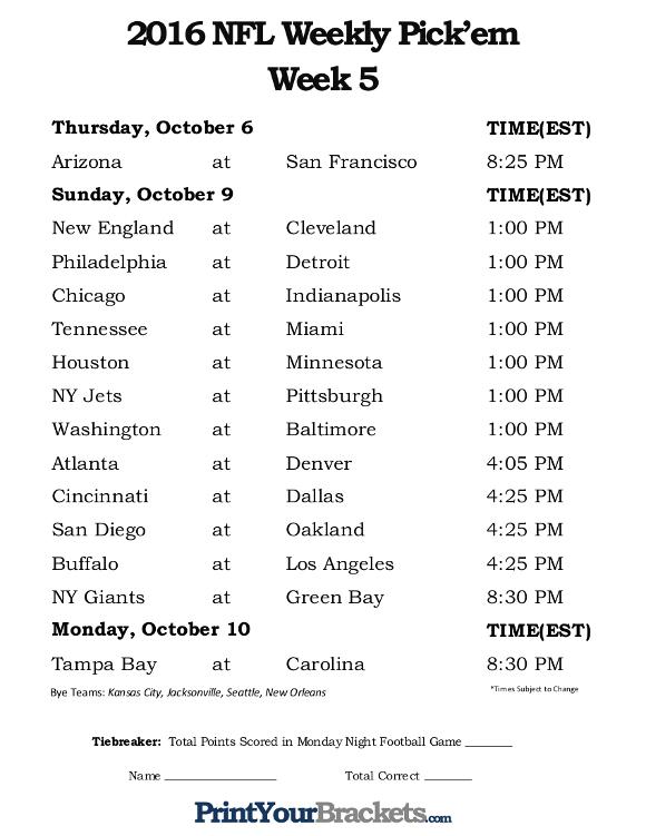 Printable NFL Week 5 Schedule Pick Em Office Pool 2016