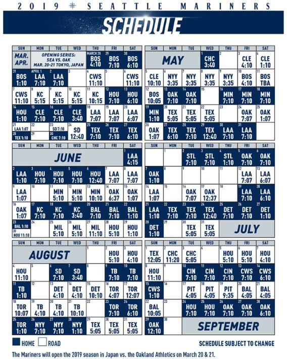 Printable Schedule Seattle Mariners Seattle Mariners