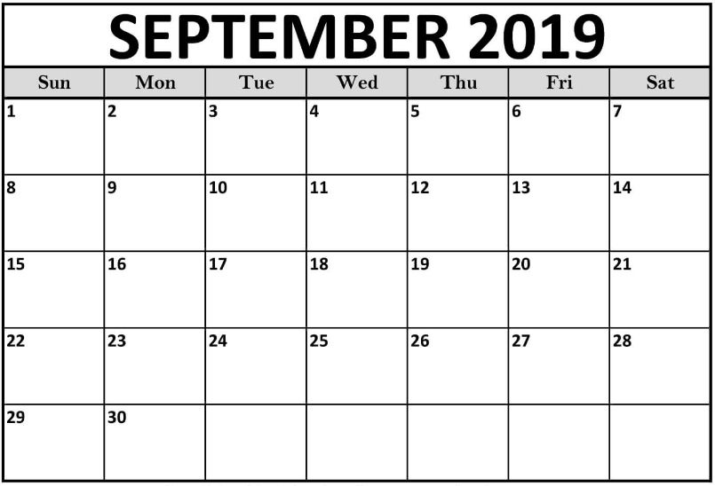 Printable September 2019 Calendar Templates Blank Free