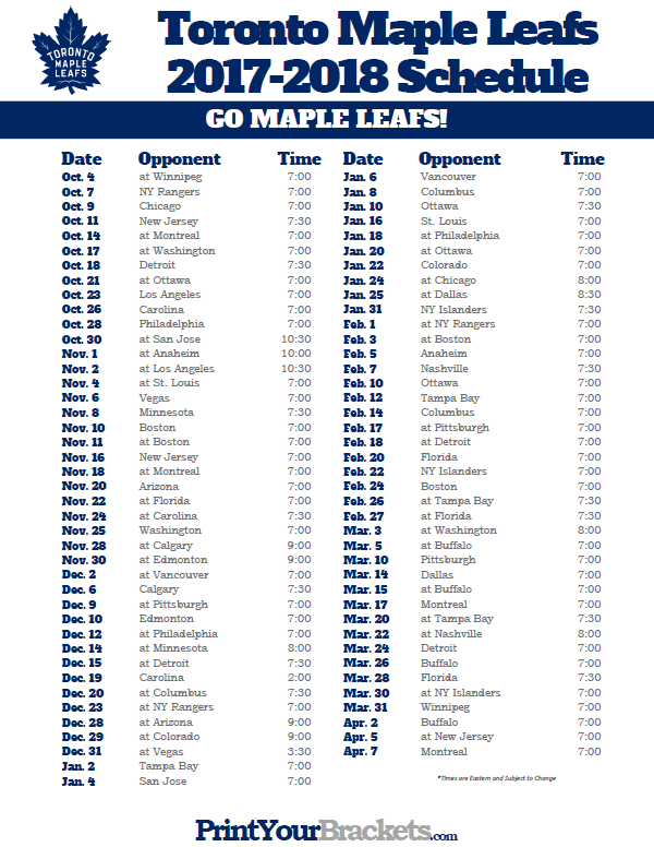 Printable Toronto Maple Leafs 2017 2018 Schedule