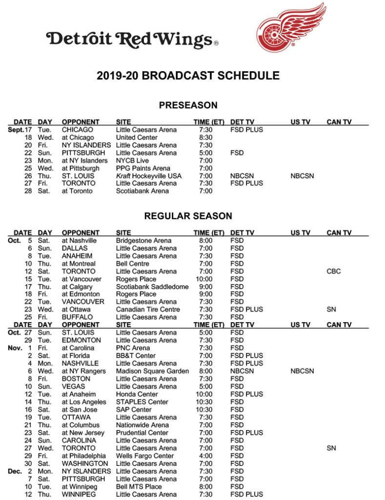 Red Wings Announce 2019 2020 Broadcast Schedule