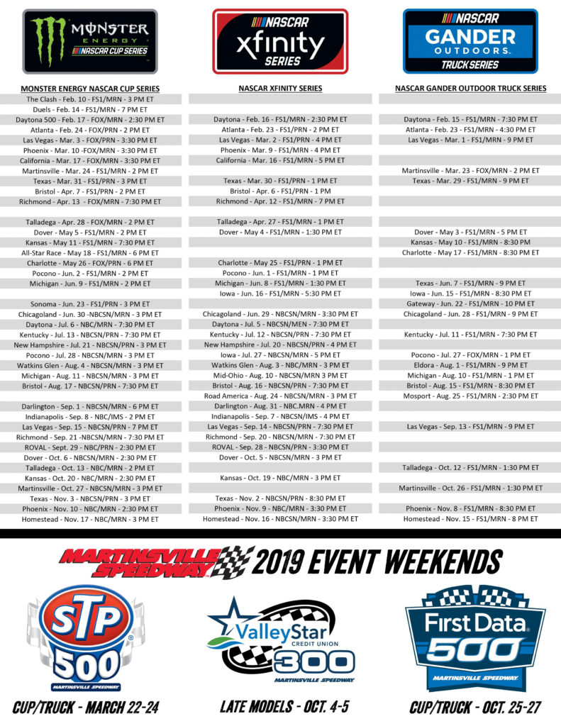 Updated Printable Schedule As Promised NASCAR