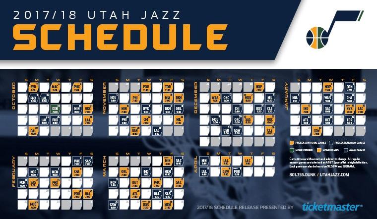 Utah Jazz Announce 2017 18 Regular Season Schedule Utah Jazz